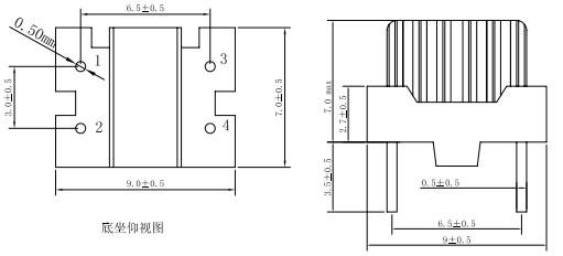 led电源电感底部、侧面尺寸示意图片