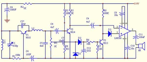 超再生电路,音频放大电路及静噪电路组成再生式调频接收机