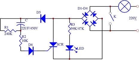 延时照明开关电气原理电路