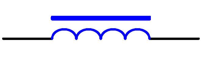 有磁芯或铁芯的电感器电路符号