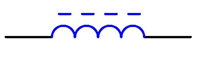 有高频磁芯的电感器电路符号