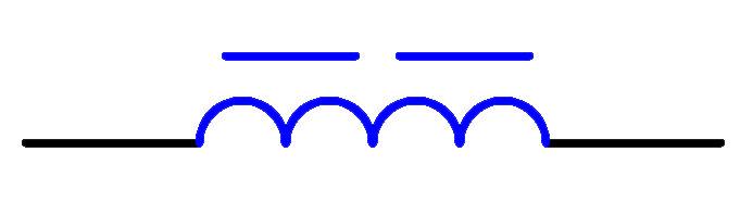 磁芯中有间隙的电感器电路符号