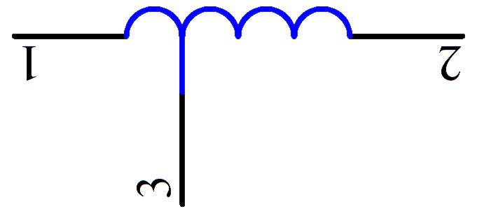 无磁芯有抽头的电感器符号