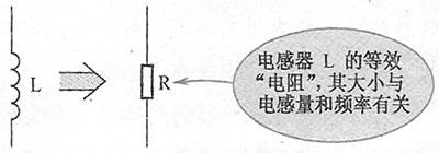 电感器感抗的等效理解电路示意图