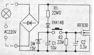 轻触延时节电开关电路图