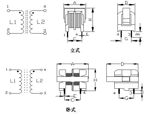 共模电感尺寸示意图片