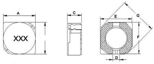 D系列屏蔽贴片电感封装尺寸